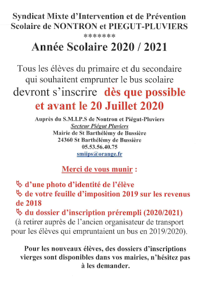 affiche transports scolaires rentree 2020